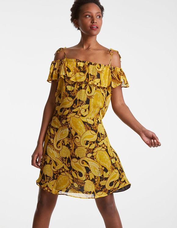 Robe courte Paisley jaune Paille IKKS pour Femme