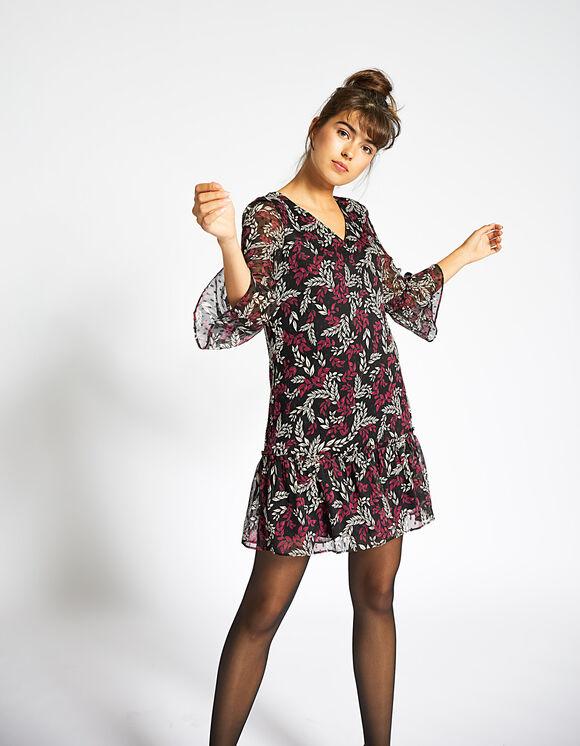 Robe noire à imprimé feuilles I.Code IKKS pour Femme