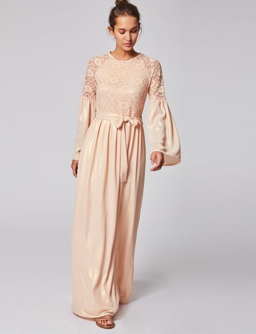 Robe longue ceinturée avec dentelle Rose pale Morgan