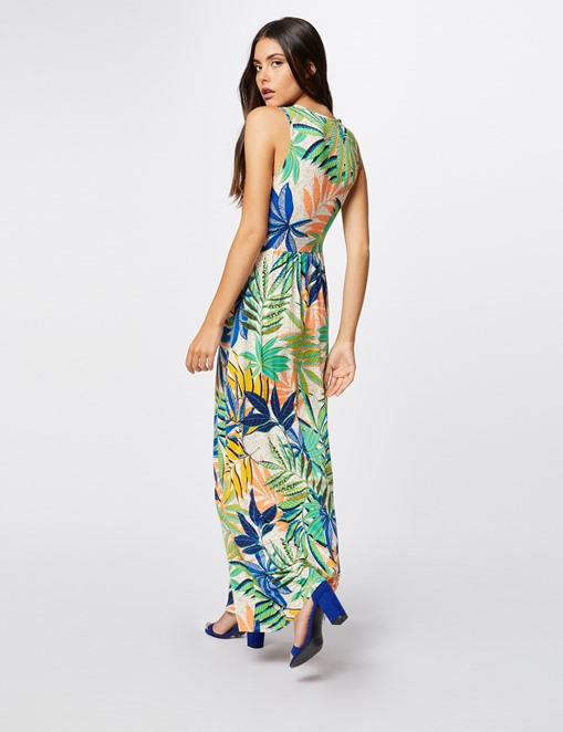 Robe longue ceinturée imprimé tropical Morgan