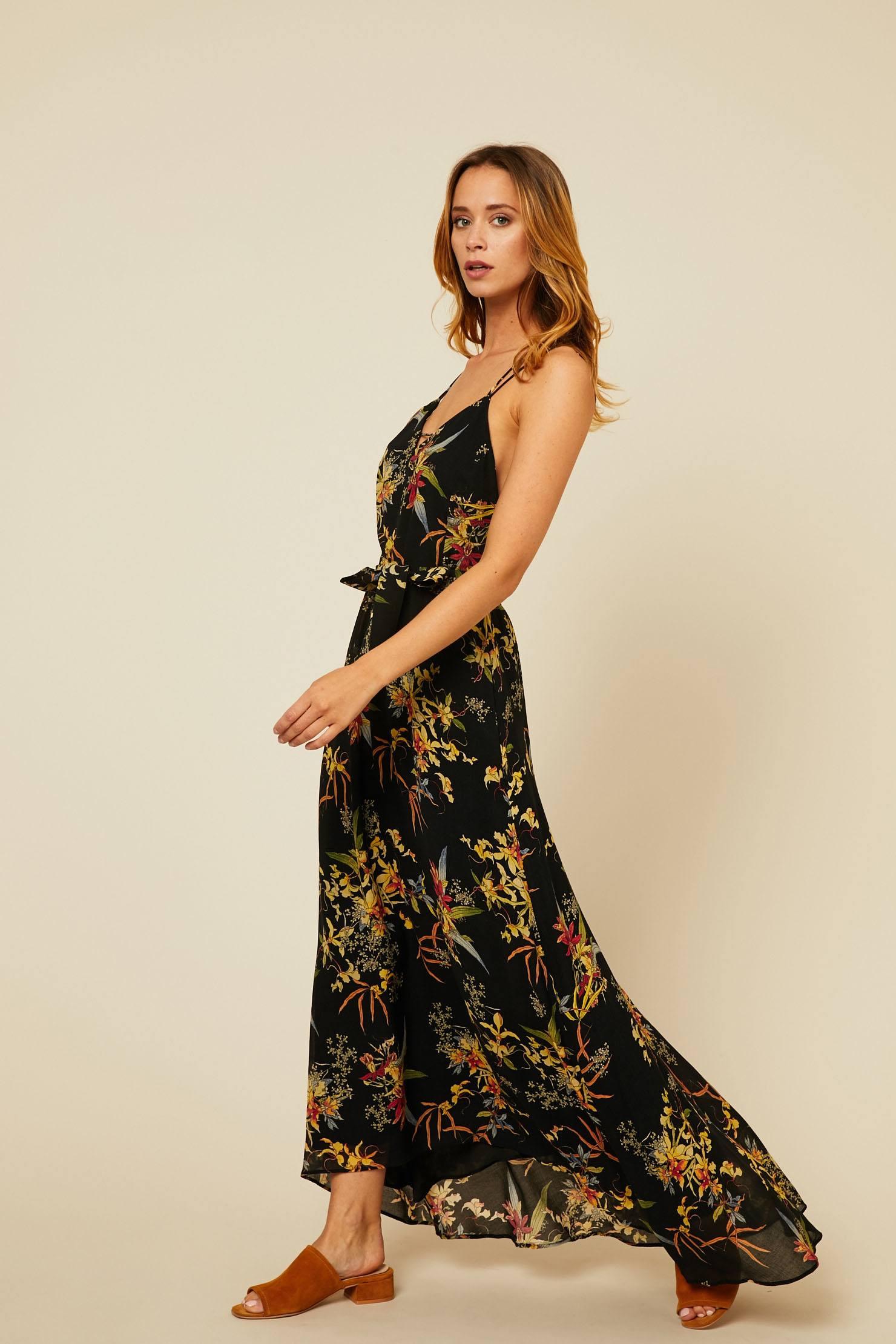 b476baa126bb8a Ikks women Robe longue en voile imprimé floral noir - Robe Monshowroom