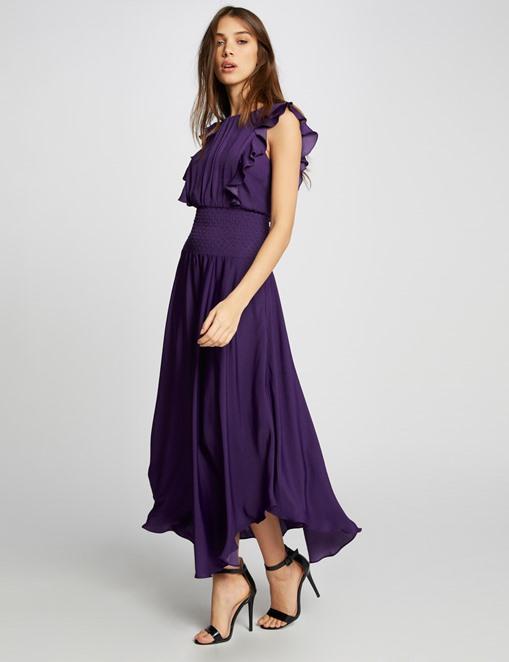 Robe longue évasée à taille smockée Violet Morgan