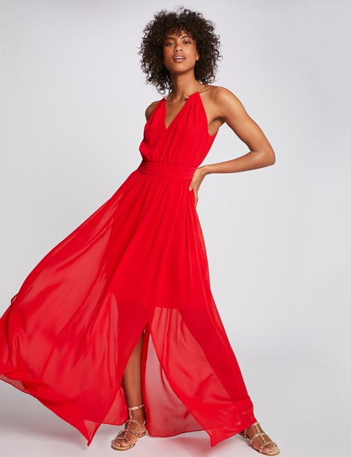 Robe longue fendue à col bijou Rouge Morgan