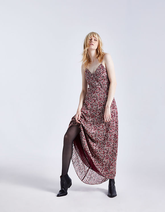 Robe longue imprimé floral Mandarine IKKS pour Femme