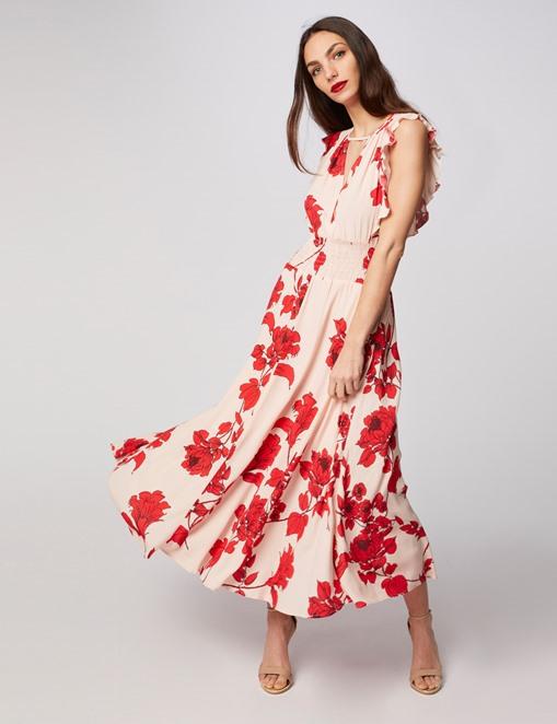 Robe longue évasée à motif floral Rouge Morgan