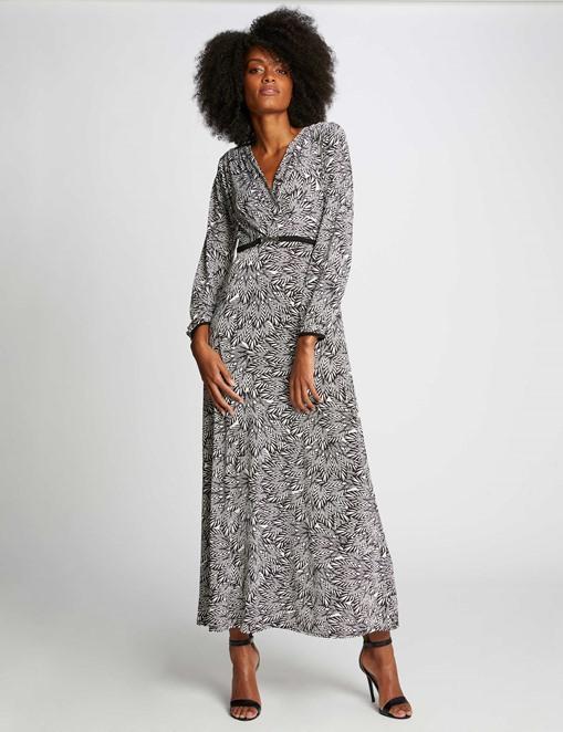 Robe longue maxi à imprimé exotique Noir Morgan