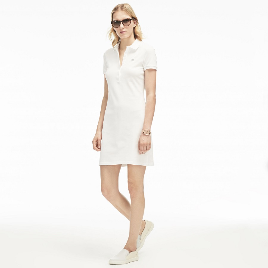81c15766ba Robe polo Lacoste en mini piqué stretch uni - Robe Femme Lacoste ...