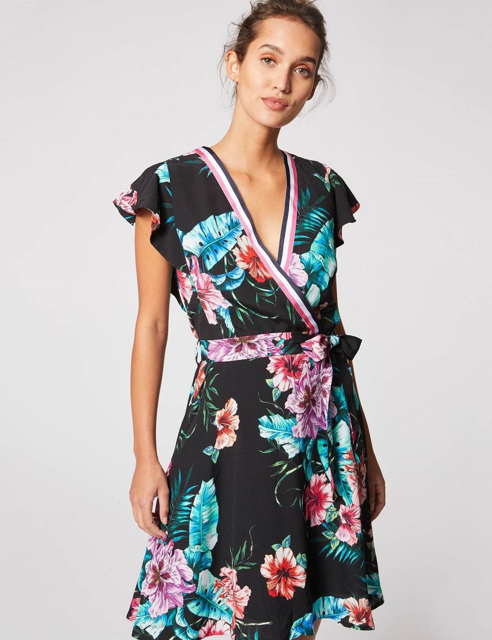 88d0080ac51 Robe portefeuille à motif floral Noir Morgan - Robe Morgan - Iziva.com