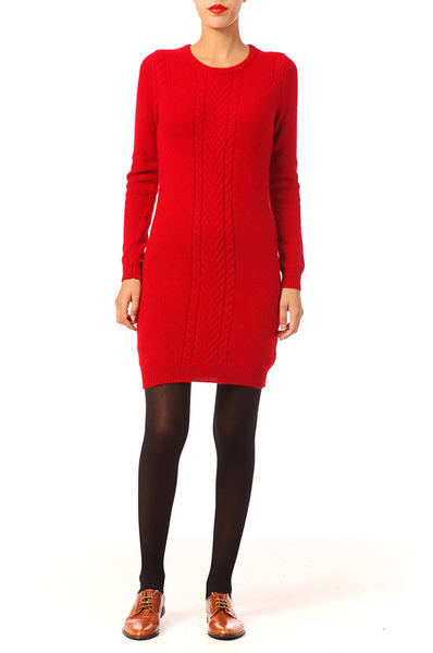 Robe pull laine rouge