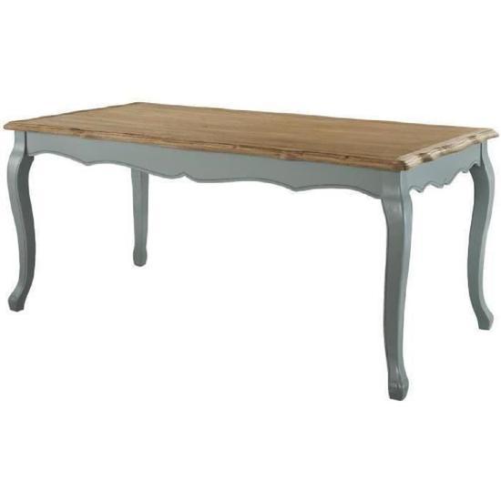ROMANCE Table à manger de 6 à 8 personnes classique placage bois Paulownia + pieds bois gris