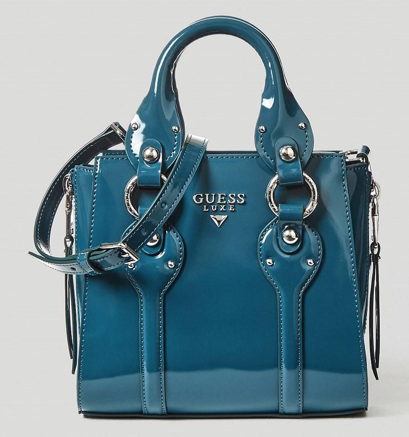 5cdf6aa308 SAC A BANDOULIERE REY CUIR GUESS Bleu Ciel - Soldes Sacs à main ...
