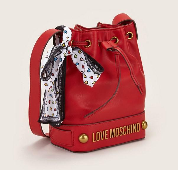 Love Moschino Sac seau en similicuir rouge à incrustations métal