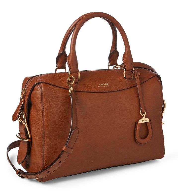 Ralph Lauren Leather Medium Satchel Sable Lauren