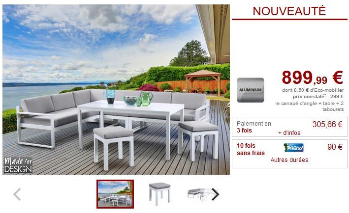 Salle à manger d\'angle de jardin PALAOS en aluminium blanc - Salle à ...