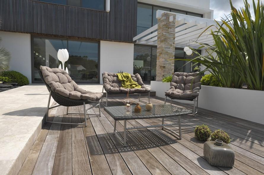 salon bas de jardin sydney rsine tresse marron leroy merlin - Leroy Merlin Salon De Jardin En Resine Tressee