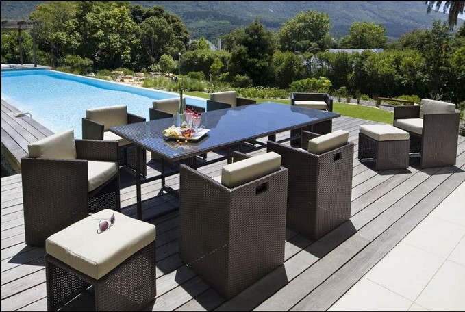 Salon de Jardin Carrefour - Set wicker 8 places RIVERSIDE ...