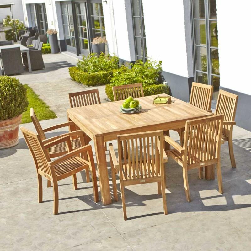 Salon de jardin en bois de teck MIDLAND 8 places - Soldes ...