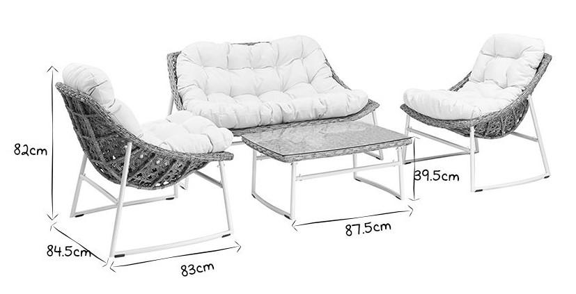Salon de jardin COMFY en résine tressée gris et blanc avec table basse - Mobilier Moss