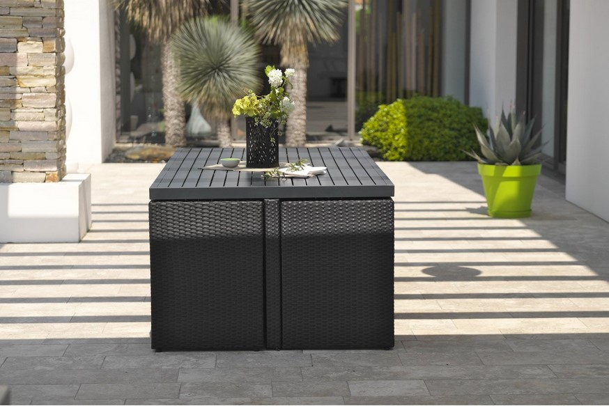 salon de jardin encastrable r sine tress e noir 10 personnes salon de jardin leroy merlin. Black Bedroom Furniture Sets. Home Design Ideas