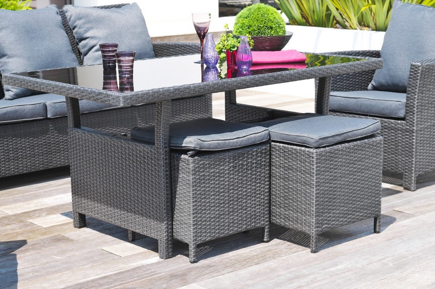 Salon de jardin festy r sine tress e gris anthracite for Salon jardin resine gris anthracite