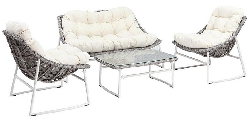 Salon de jardin COMFY en résine tressée gris et blanc avec table ...
