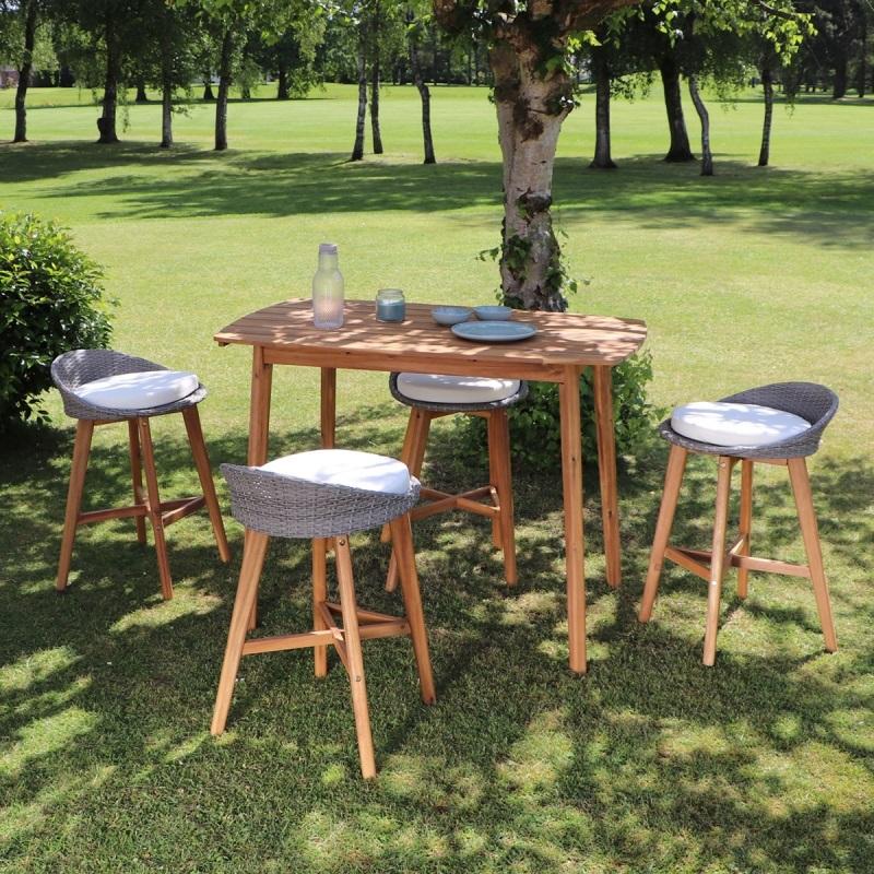 Salon de jardin haut en bois d\'acacia 4 places pas cher ...