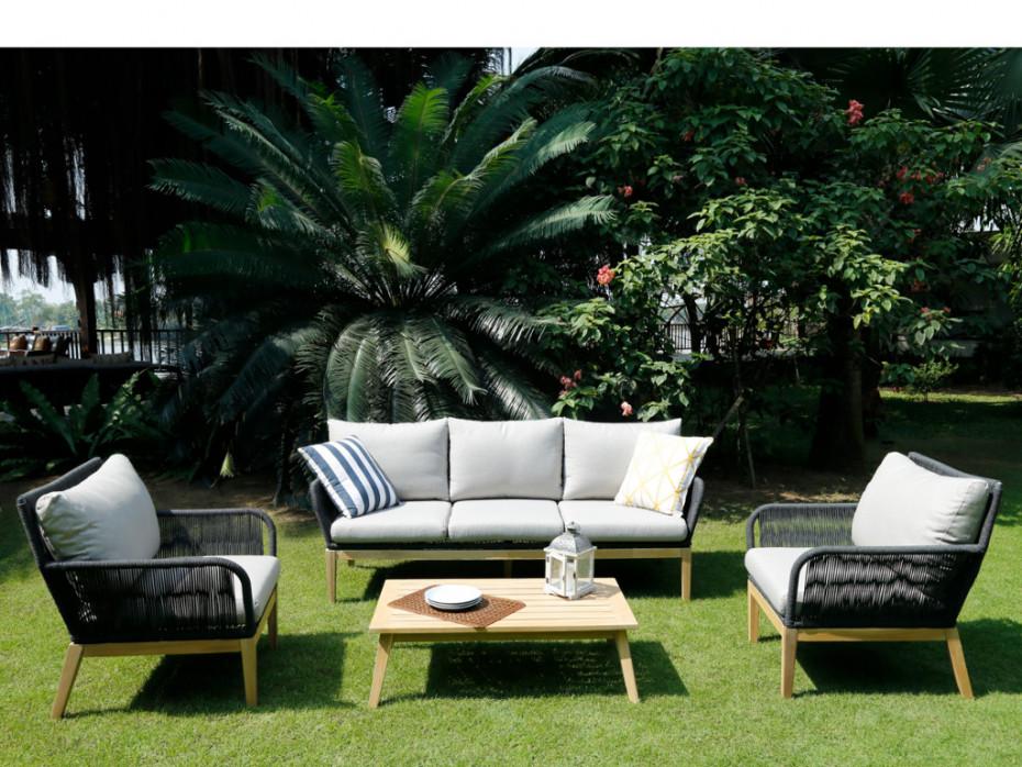 Salon de jardin KOLOA en acacia et cordes pas cher - Salon de jardin Vente  Unique