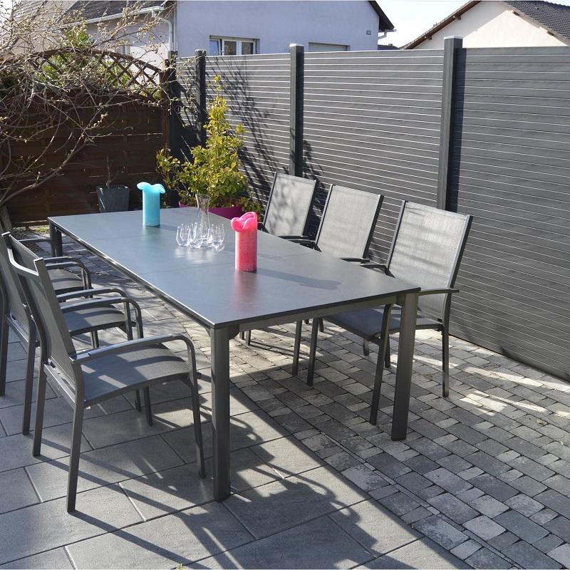 Salon de jardin Puroplan aluminium gris anthracite - Salon ...