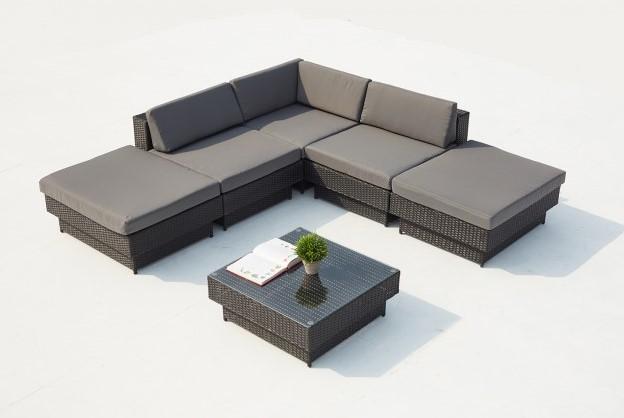 Salon de jardin d\'angle Amorgos 5 places en résine tressée noir/gris