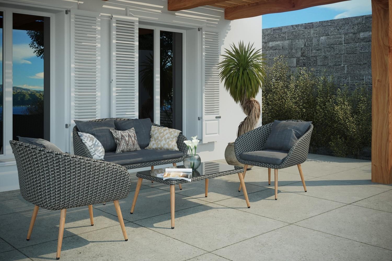Salon de jardin rotin places Cosenza pas cher - Salon de jardin Concept  Usine