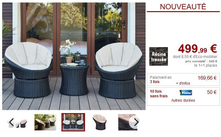 Salon de jardin SIBU résine tressée chocolat assise beige - Vente Unique