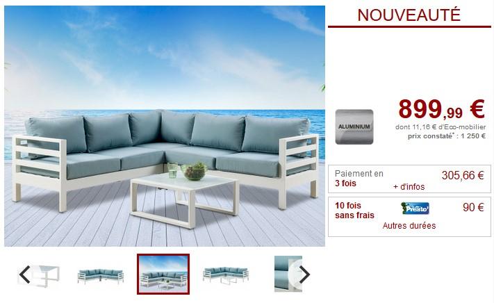 Salon de jardin SULAWESI coloris blanc et turquoise - Salon de ...
