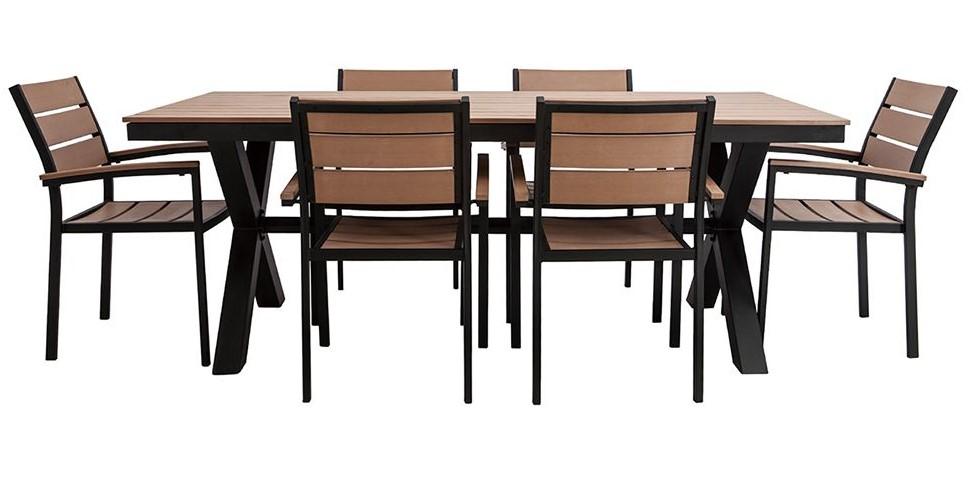 Salon De Jardin Viaggio Avec Table Et 6 Chaises Noir Et Bois Pas