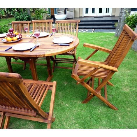 salon de jardin bali 8 places en teck huil pas cher. Black Bedroom Furniture Sets. Home Design Ideas