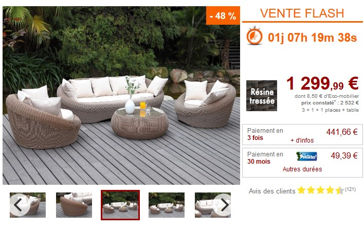 Vente Flash Salon jardin WHITEHEAVEN prix Vente Unique 1 ...