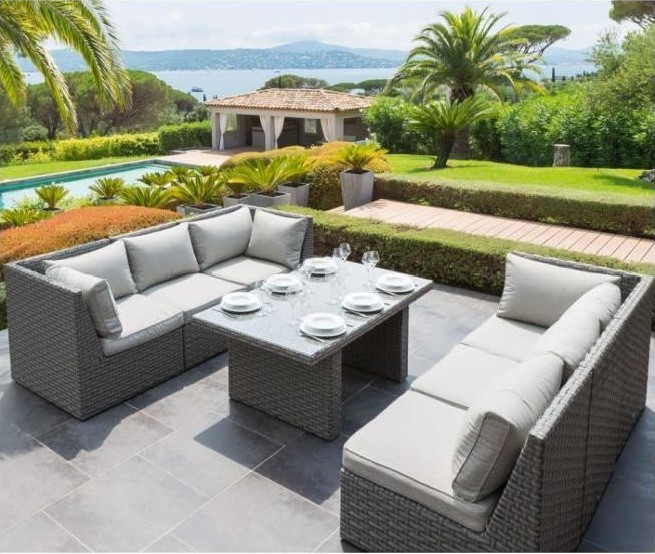 Salon repas exterieur giannella hesperide 7 pieces salon for Salon de jardin exterieur