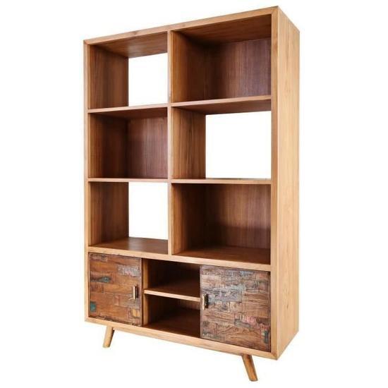 SERENITY Bibliothèque vintage en bois teck massif naturel