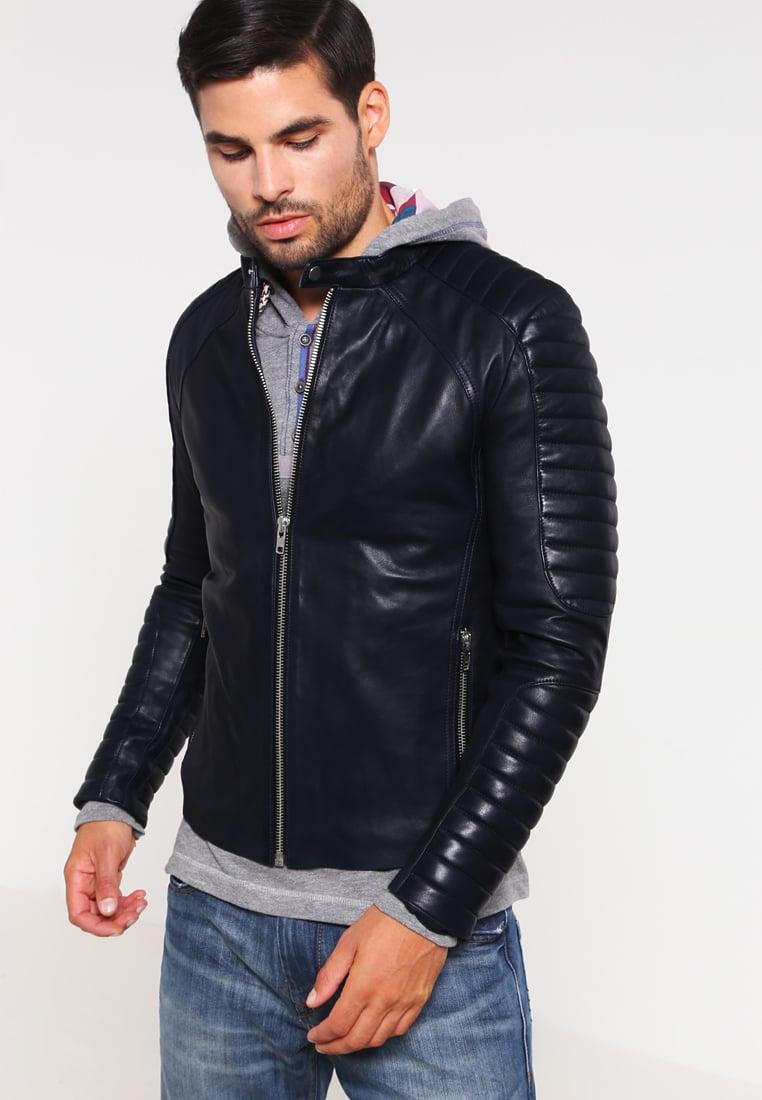 serge pariente leman veste en cuir bleu veste homme. Black Bedroom Furniture Sets. Home Design Ideas