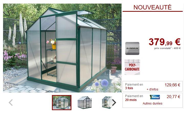 Serre de Jardin polycarbonate 3,4 m² GIARDINA avec embase ...