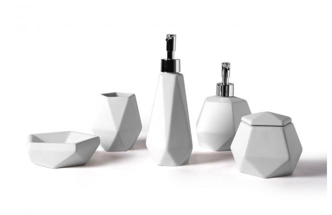 Set Du0027accessoires De Salle De Bain Design Céramique Blanc CUBIC   Miliboo