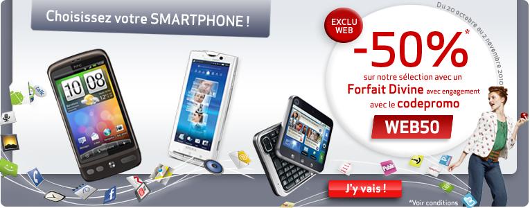 Smartphone pas cher -50% sur Virgin Mobile