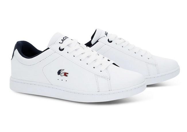 c6ed1807c2 Sneakers Carnaby Evo Lacoste en cuir blanc tricolore - Baskets Femme ...