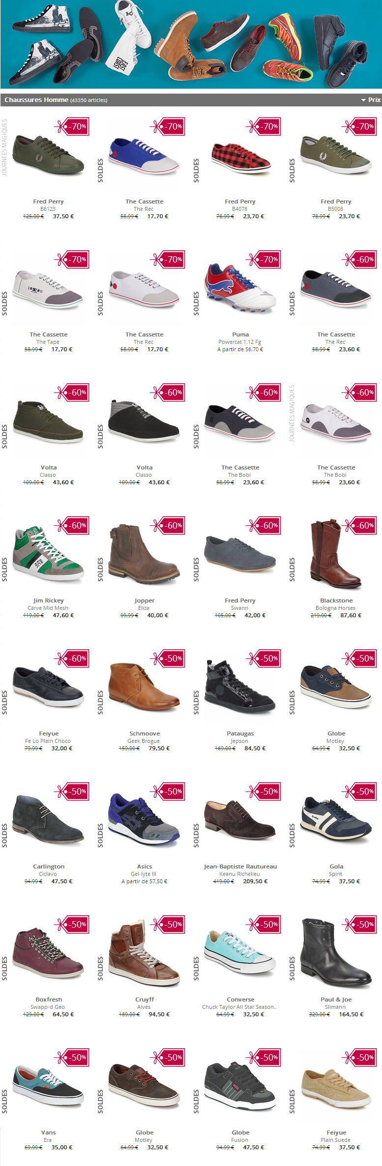Soldes Chaussures Homme Spartoo