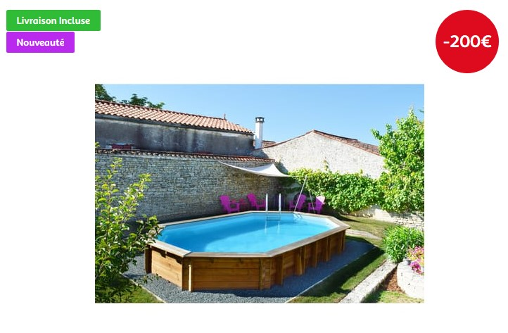 piscine carrefour habitat et jardin piscine bois hawai hexagonale. Black Bedroom Furniture Sets. Home Design Ideas