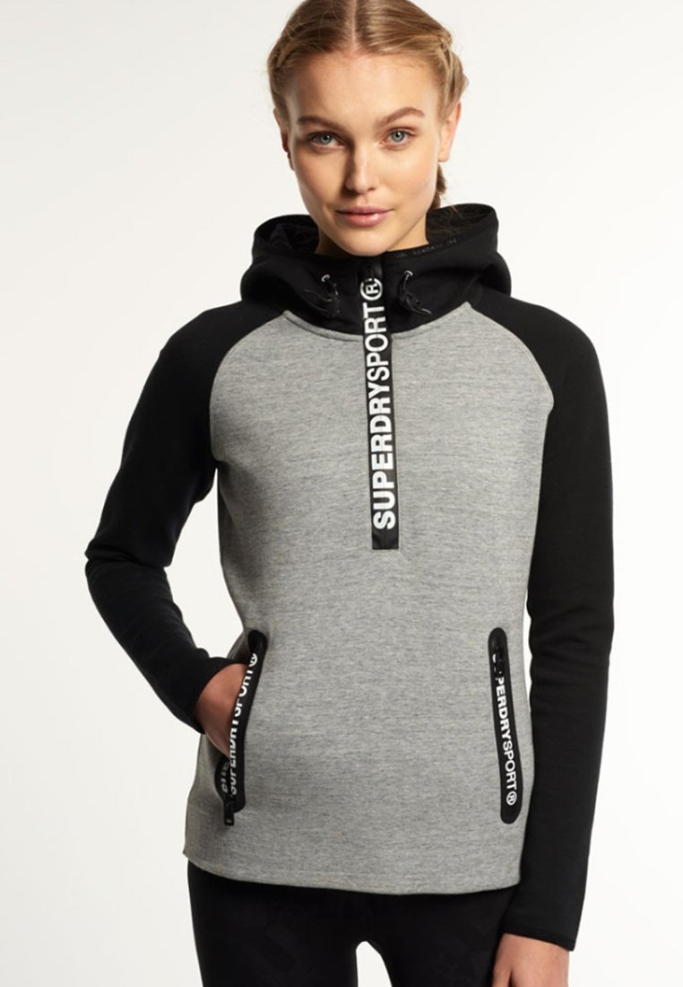 Superdry GYM TECH Sweat à capuche light grey slub/black, Sweat à capuche Zalando