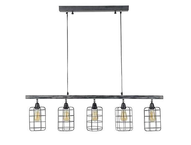 Suspension industrielle 5 lampes LOFT en métal gris - Miliboo