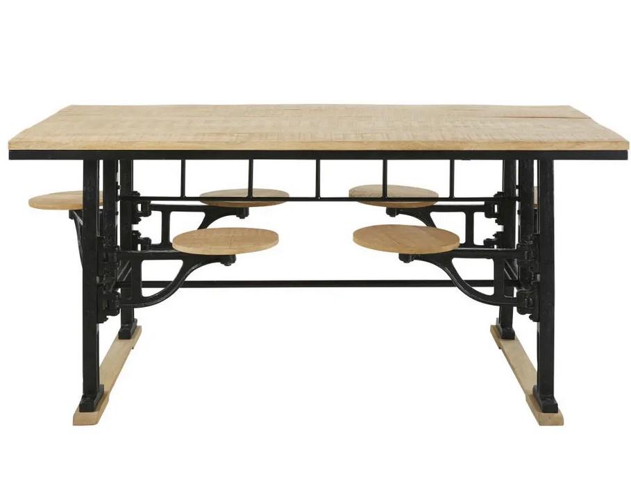Table A Manger 8 Personnes Factory Avec Tabourets En Manguier Et