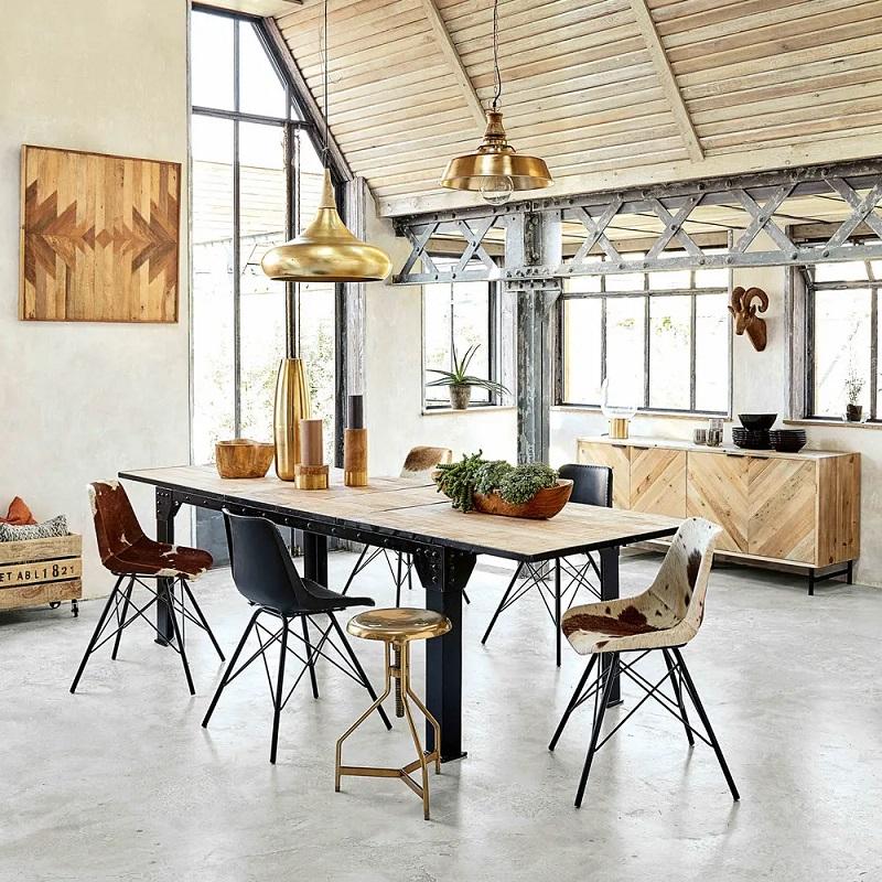 Table à manger extensible 8 à 12 personnes Factory en manguier et métal - Maisons du Monde