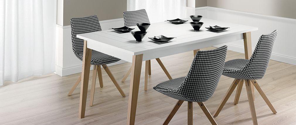 Table à manger extensible ADORNA laquée blanc mat et bois - Miliboo