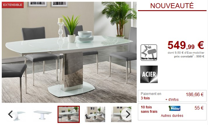 Table Extensible Talicia Pas Cher Table à Manger Vente Unique
